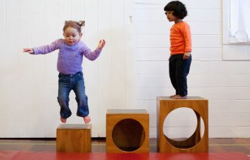 GymbaROO BabyROO Sydney West NSW Toddler Classes Child Development Two Children Playing on Blocks