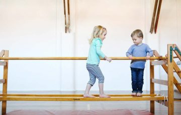 GymbaROO BabyROO Sydney West NSW Toddler Classes Child Development Two Children Walking along Balance Beams